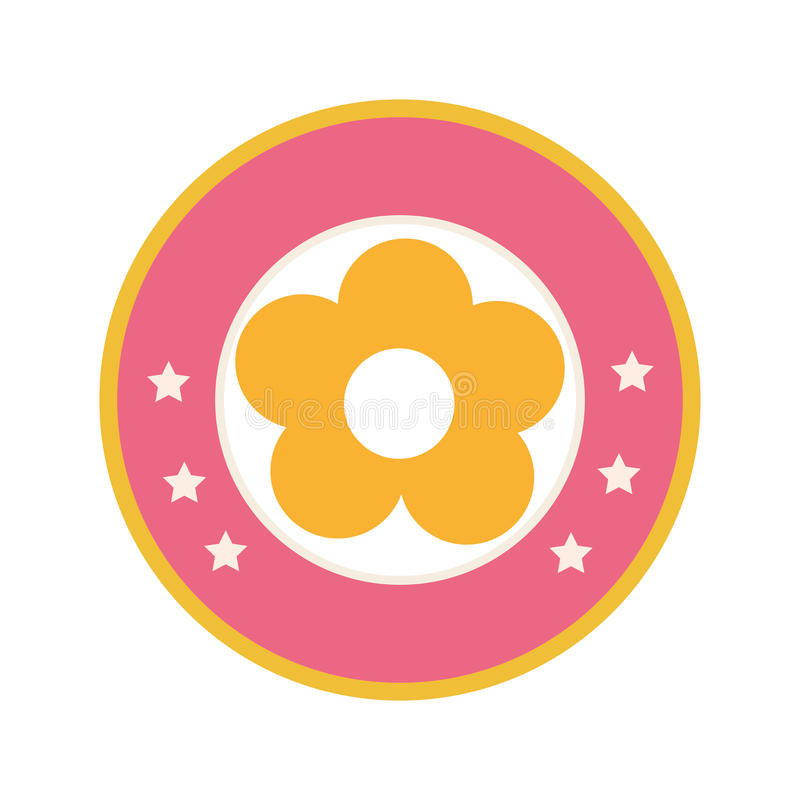 Красочная круговая граница с желтой диаграммой значком силуэта цветка флористическим бесплатная иллюстрация