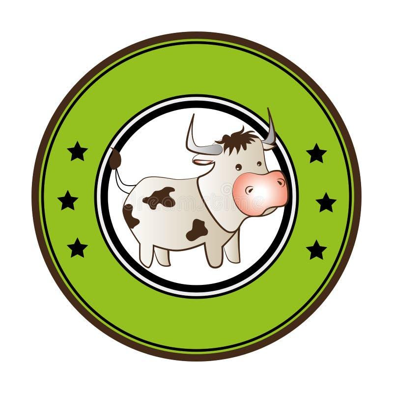 Красочная круговая граница с животным коровы шаржа иллюстрация штока