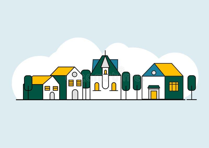 Красочная линия набор домов ландшафт сельской местности иллюстрация вектора