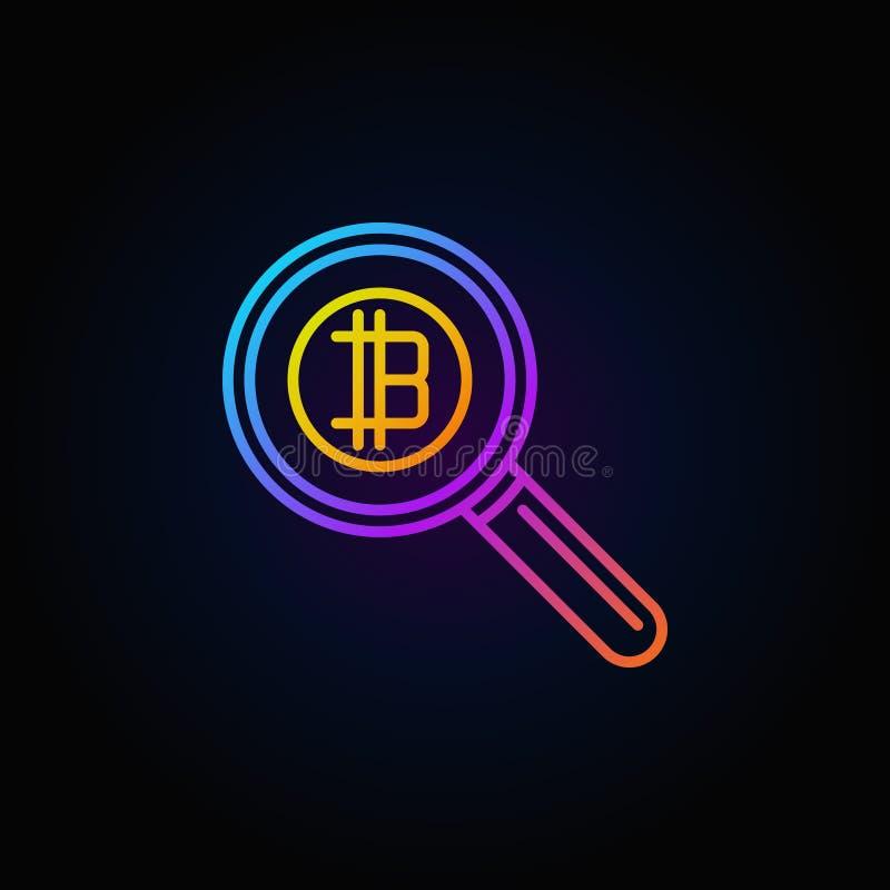 Красочная лупа с значком вектора концепции bitcoin иллюстрация штока
