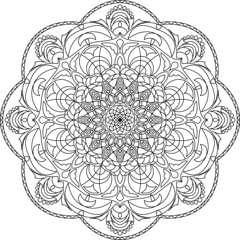 Красочная мандала для книжка-раскраски Декоративные круглые орнаменты иллюстрация штока