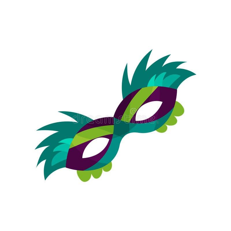 Красочная маска с пер, иллюстрация масленицы стороны вектора маски masquerade иллюстрация вектора