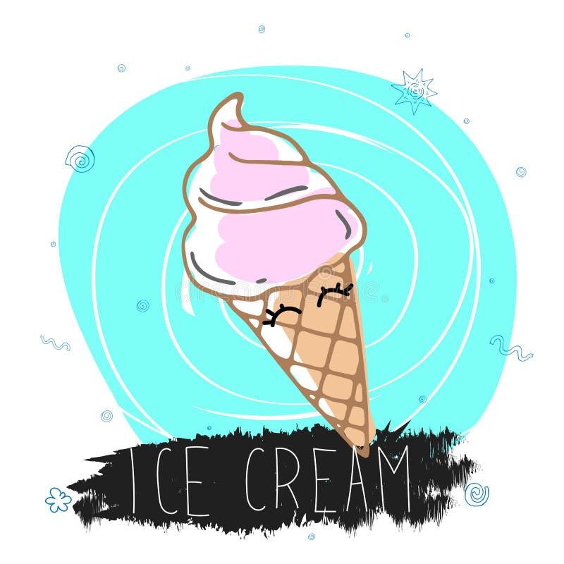 Красочная милая иллюстрация со смешным мороженым, надписью и декоративными элементами r иллюстрация вектора