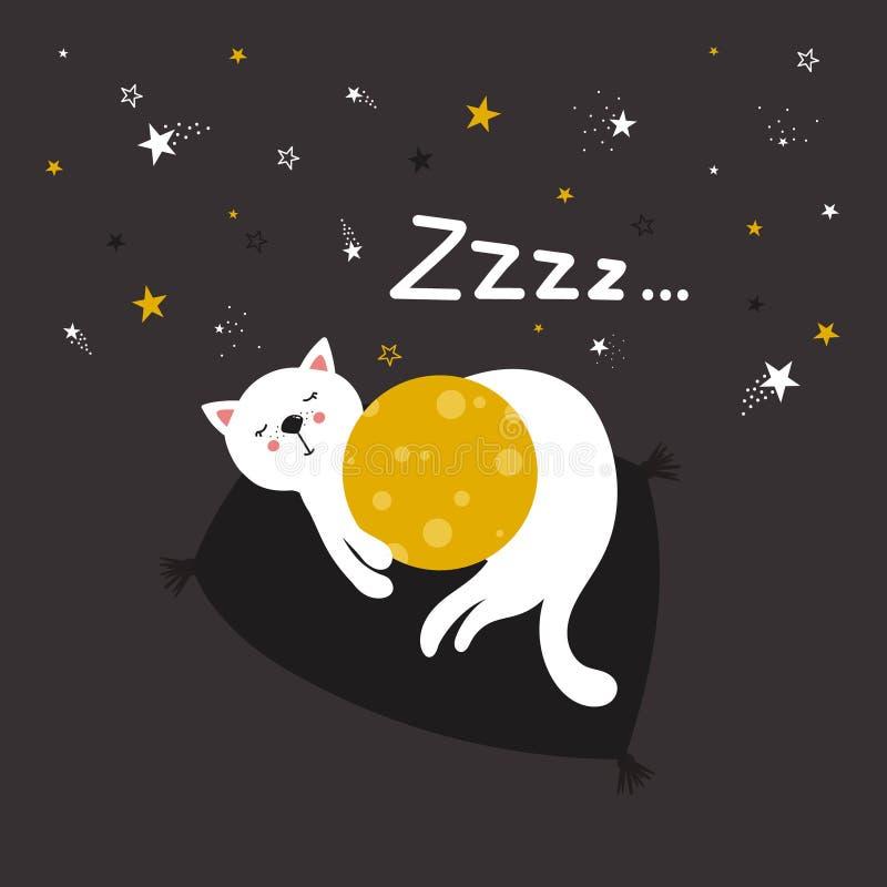 Красочная милая предпосылка с котом, луной, звездами Zzzz иллюстрация вектора