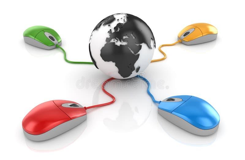 Красочная мышь компьютера соединенная к глобусу иллюстрация штока