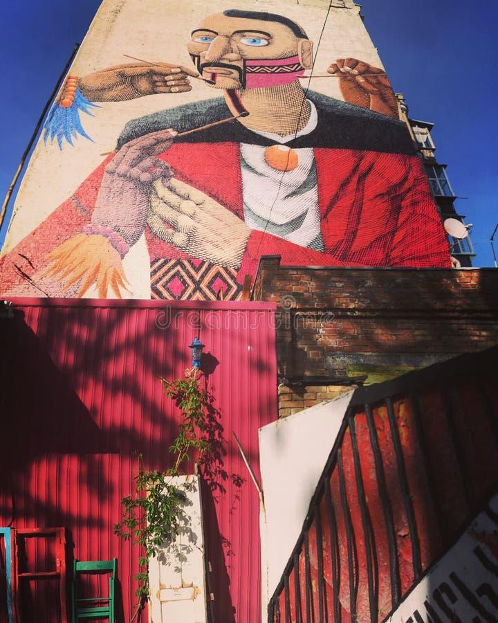 Красочная настенная роспись в Kyiv стоковые фото