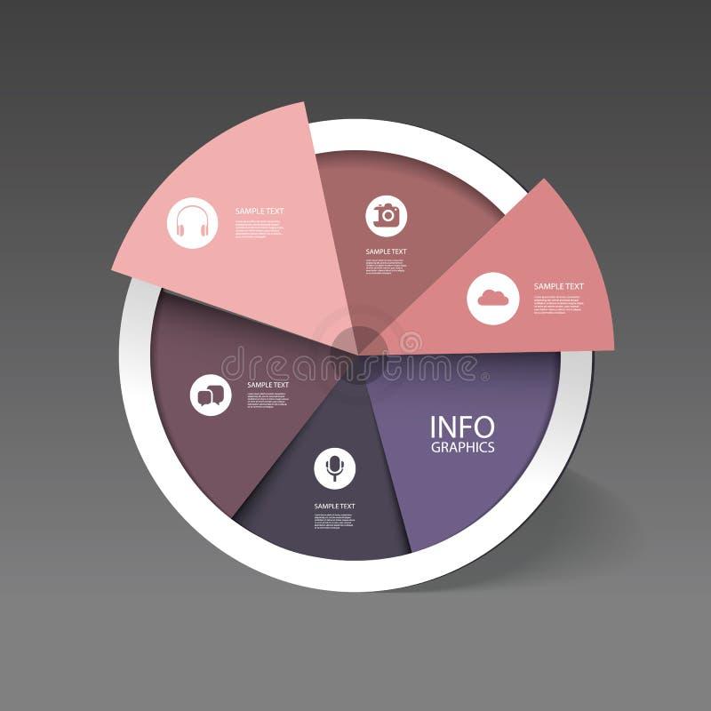 Красочная долевая диограмма дела - дизайн Infographic иллюстрация вектора