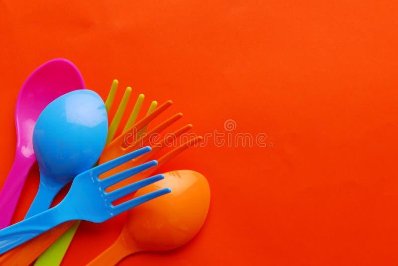 Красочная пластичная ложка стоковое фото rf