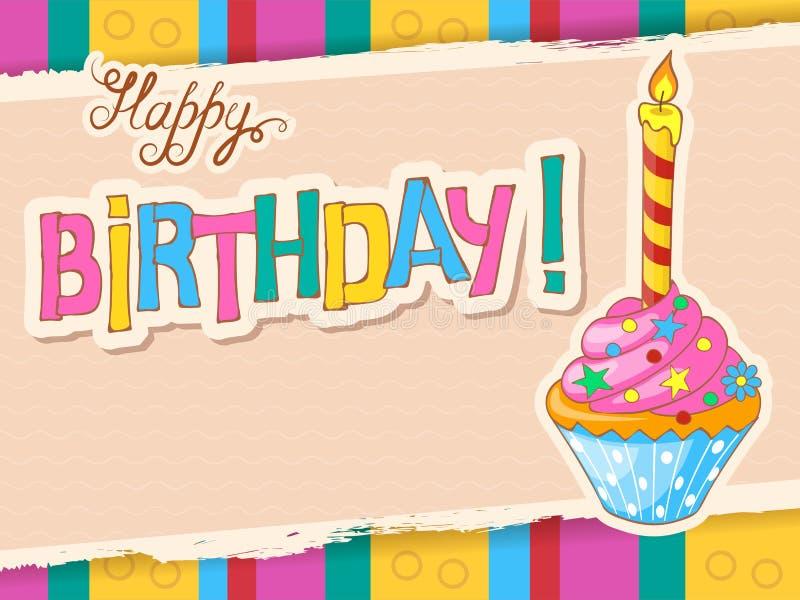 Красочная поздравительая открытка ко дню рождения с праздничным пирожным doodle бесплатная иллюстрация