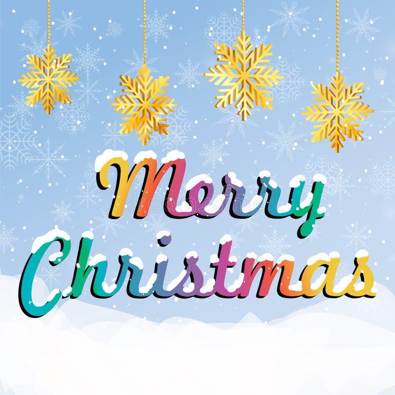 Красочная поздравительная открытка с рождеством надписи веселым бесплатная иллюстрация