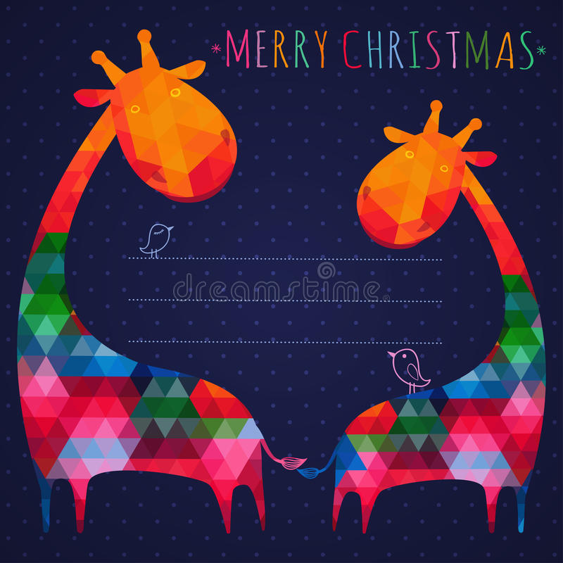 Красочная поздравительная открытка рождества с жирафами Квадратное compositi иллюстрация вектора