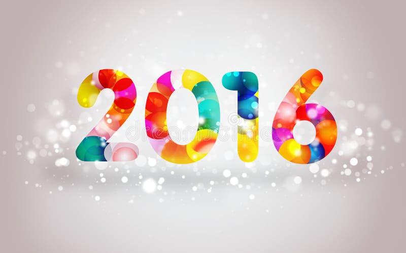 Красочная поздравительная открытка 2016 стоковое изображение rf
