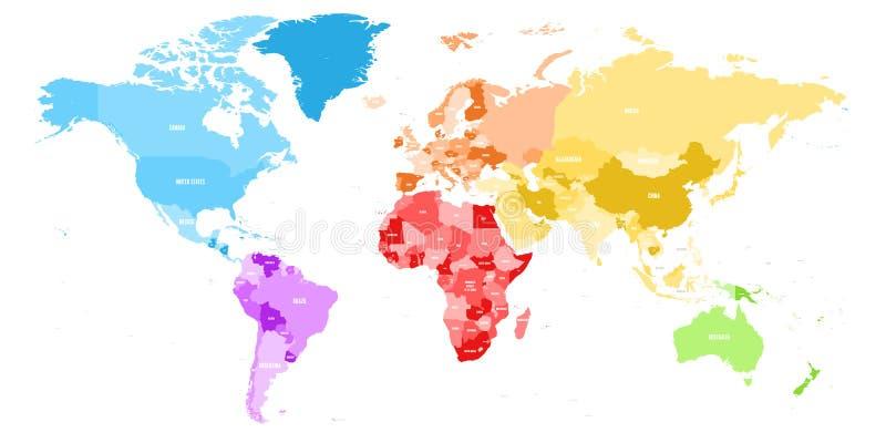 Красочная политическая карта мира разделила в 6 континентов с ярлыками имени страны Карта вектора в спектре радуги иллюстрация вектора