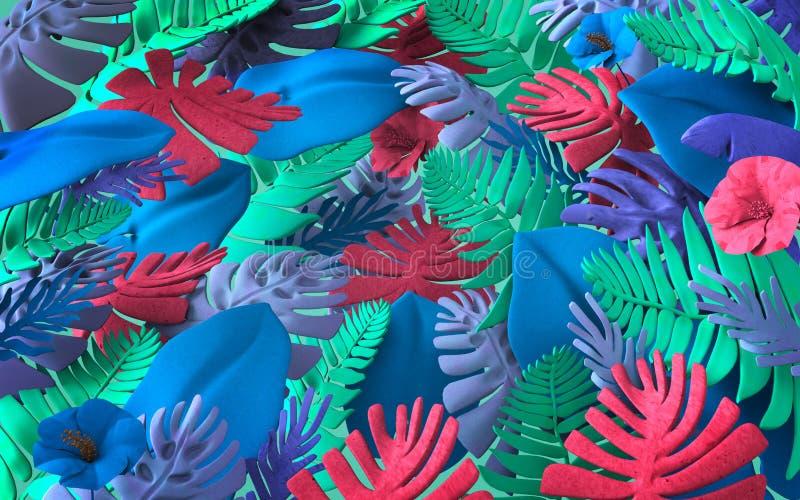Красочная предпосылка абстрактных заводов и листьев джунглей иллюстрация вектора