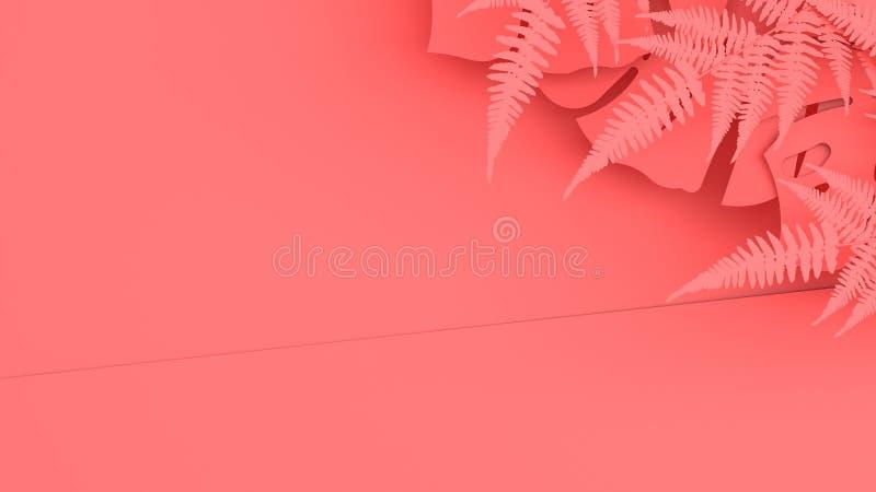 Красочная предпосылка и тропические листья красный цвет поднял 3d представляют иллюстрация штока
