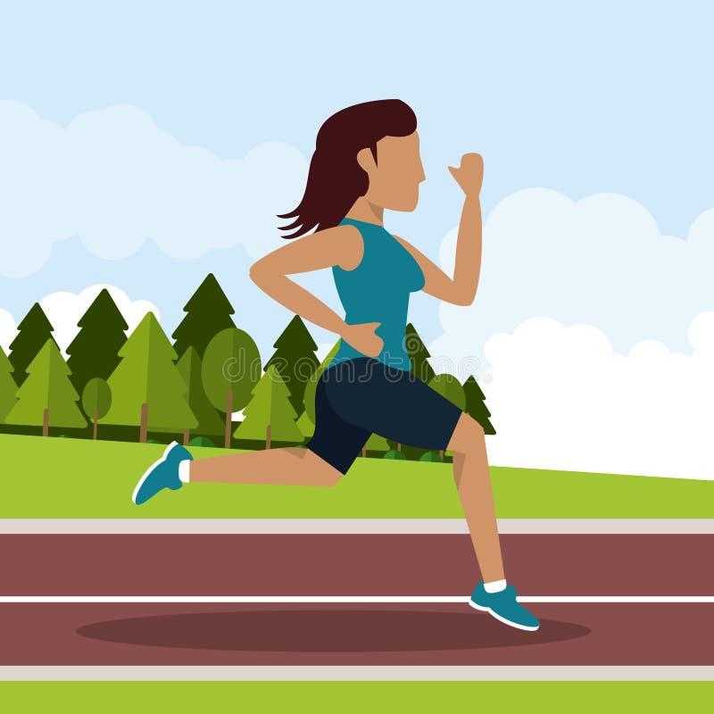 Красочная предпосылка при спортсменка бежать в атлетическом следе с длинными волосами бесплатная иллюстрация