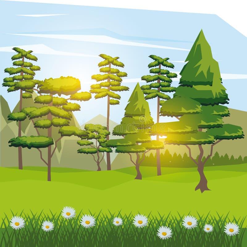 Красочная предпосылка солнечного ландшафта с оленями около дороги в лесе иллюстрация штока