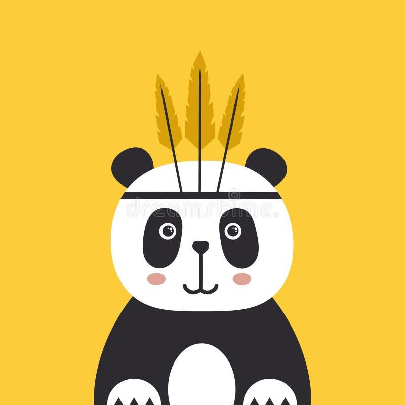 Красочная предпосылка, счастливая панда с пер Декоративный милый фон с животным бесплатная иллюстрация