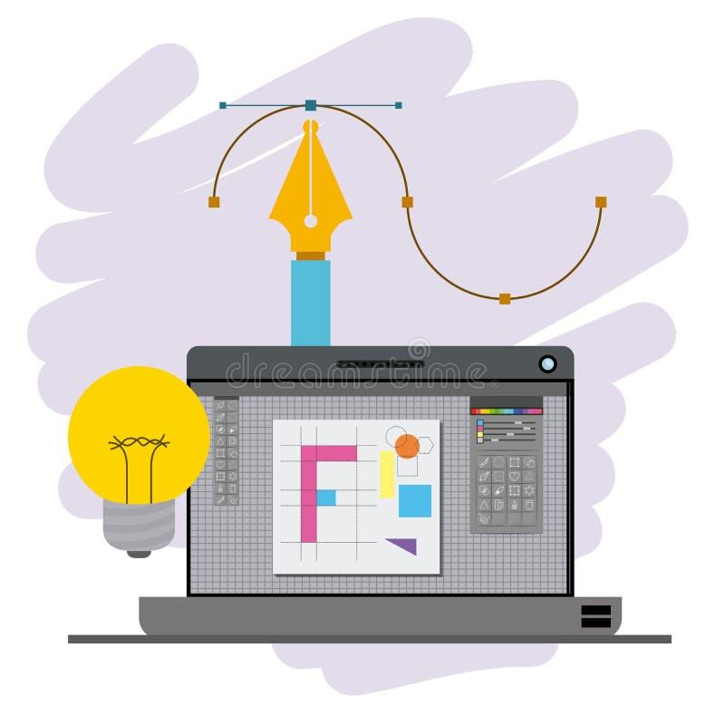 Красочная предпосылка с портативным компьютером и авторучкой и электрическая лампочка конструируют творческий процесс иллюстрация вектора