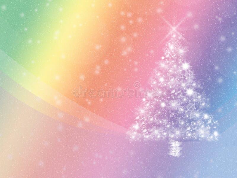 Красочная предпосылка зимних отдыхов, с белыми рождественской елкой и copyspace бесплатная иллюстрация