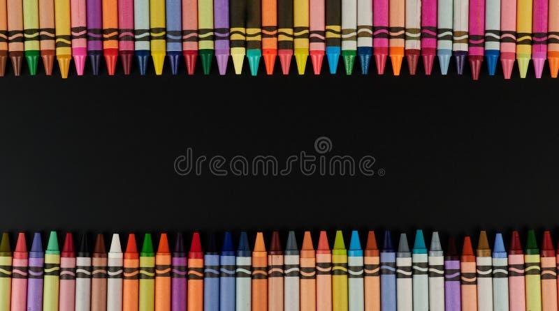 Красочная рамка crayons стоковое фото rf