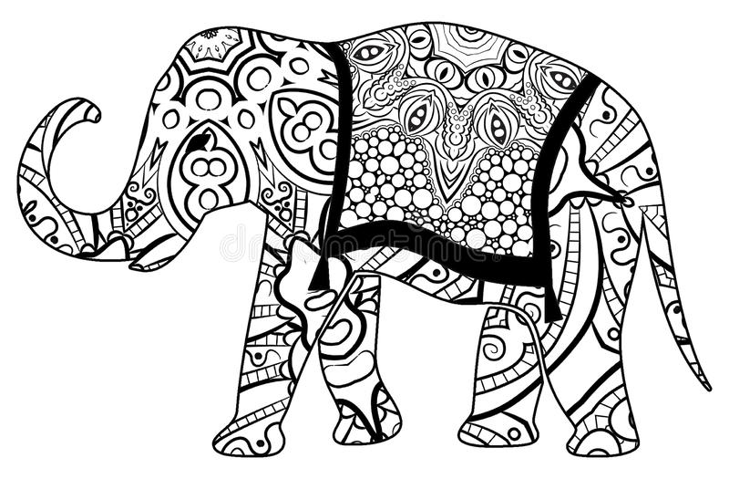 Красочная расцветка слона для детей и взрослых стоковое фото
