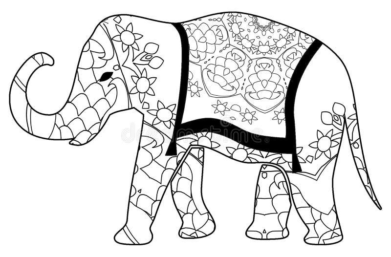 Красочная расцветка слона для детей и взрослых стоковые фотографии rf