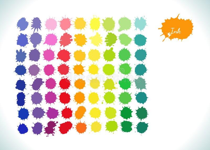 Красочная радуга вектора акварели брызгает комплект бесплатная иллюстрация