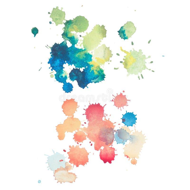 Красочная ретро винтажная абстрактная краска руки искусства aquarelle watercolour на белой предпосылке стоковые изображения