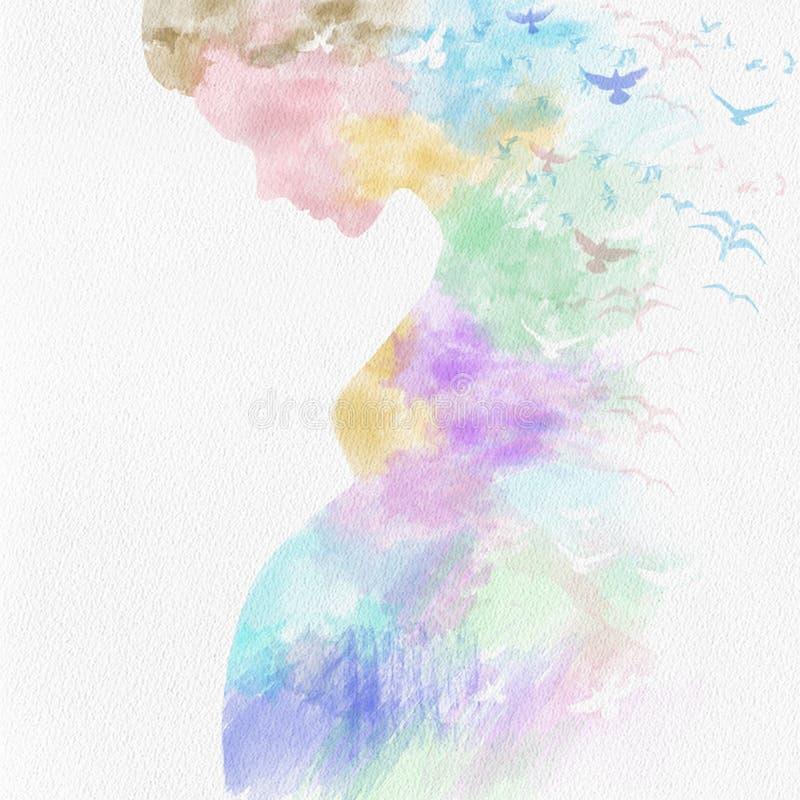Красочная сладкая беременная на бумаге иллюстрация штока