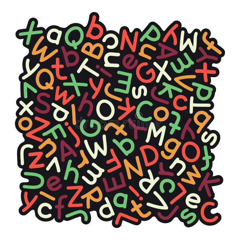 Красочная смешанная предпосылка алфавита иллюстрация штока