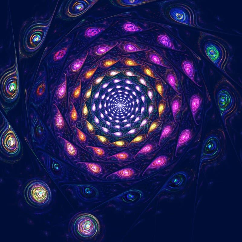 Красочная спиральная фантазия в космосе, компьютере иллюстрация штока