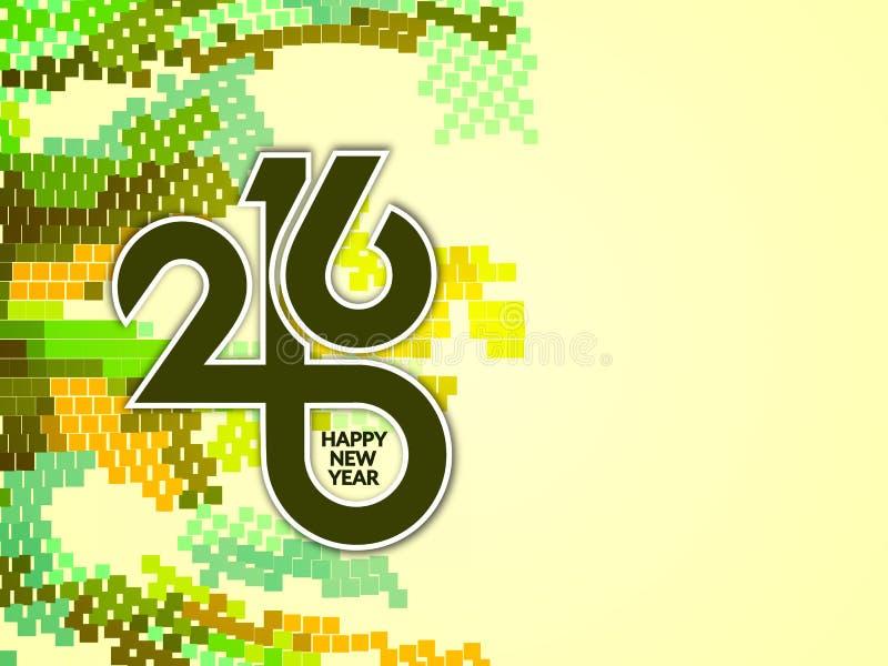 Красочная счастливая предпосылка 2016 Нового Года иллюстрация штока