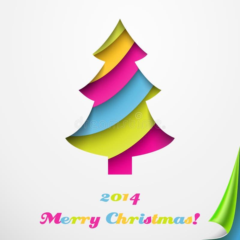 Красочная с Рождеством Христовым поздравительная открытка с деревом. бесплатная иллюстрация
