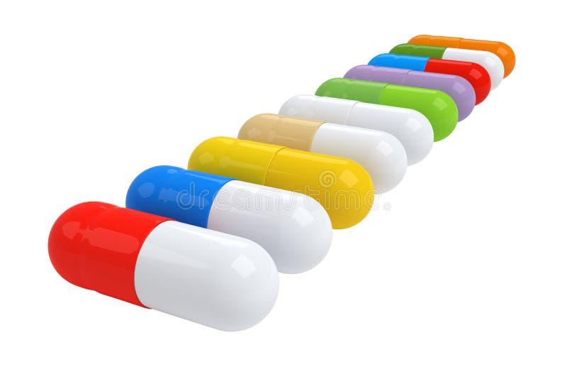 Красочная таблетка витамина - иллюстрация 3D стоковые изображения rf