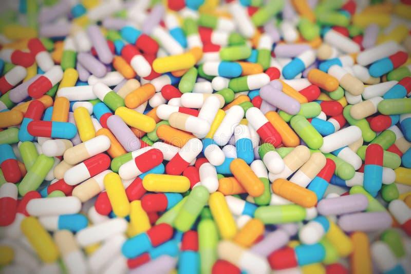 Красочная таблетка витамина - иллюстрация 3D стоковая фотография rf