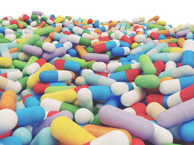 Красочная таблетка витамина - иллюстрация 3D стоковое фото