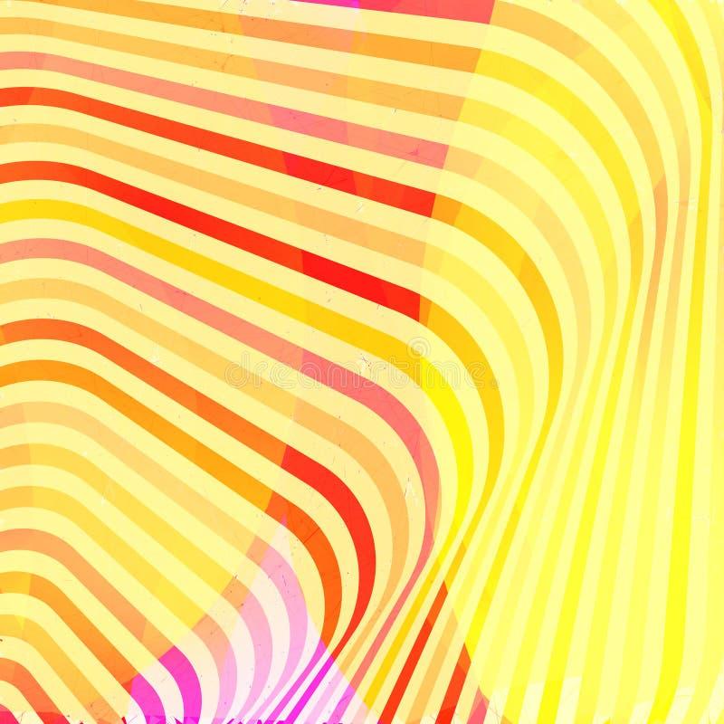 Красочная творческая переплетенная абстрактная предпосылка с красочными передернутыми волнистыми линиями Влияние обмана зрения Де иллюстрация вектора