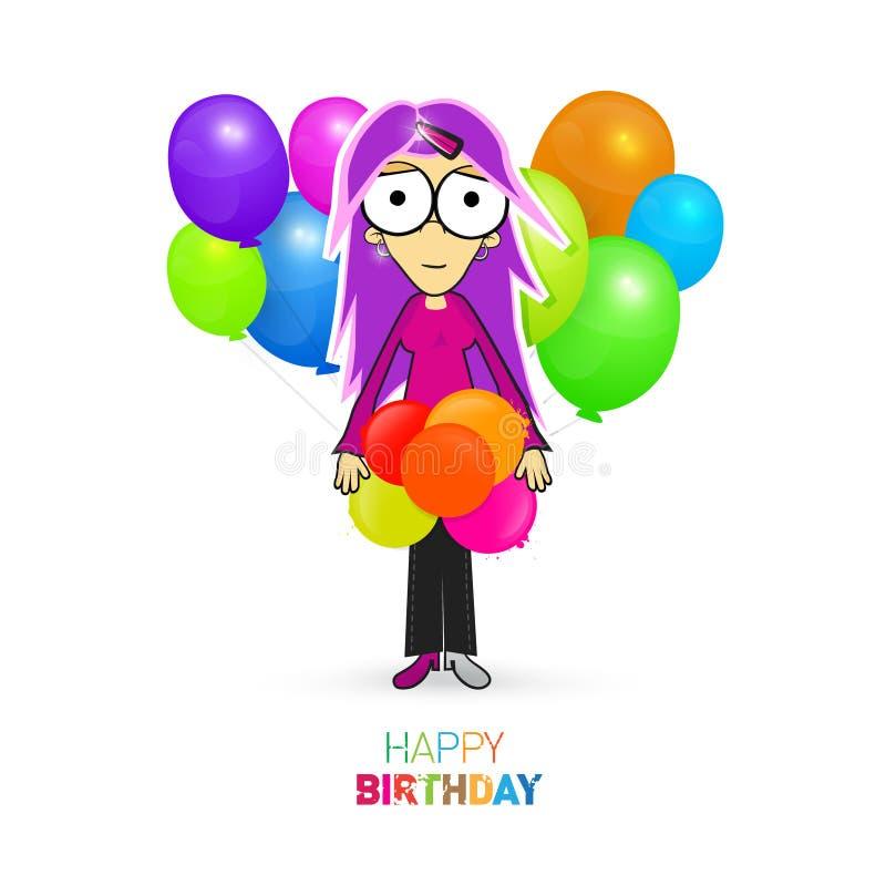 Красочная тема вектора с днем рождения с девушкой и воздушными шарами иллюстрация штока