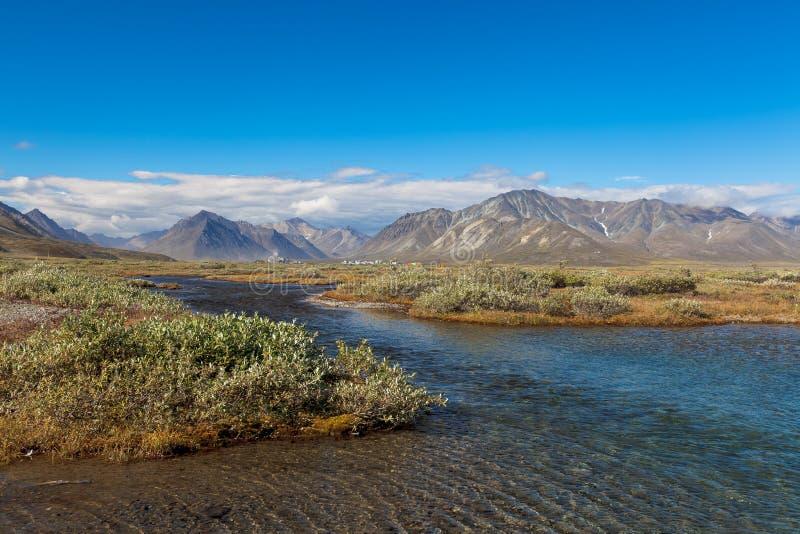 Красочная тундра перед рекой и горами, Россией стоковое изображение rf
