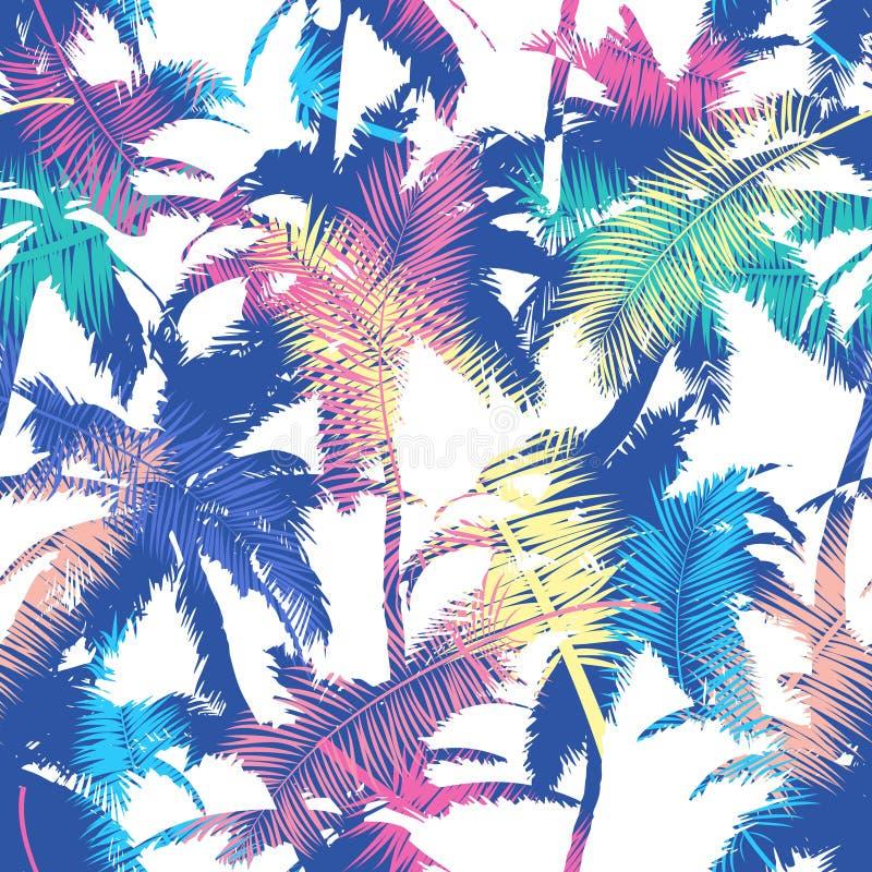 Красочная ультрамодная безшовная экзотическая картина с ладонью Современный абстрактный дизайн для бумаги, обоев, крышки, ткани и бесплатная иллюстрация