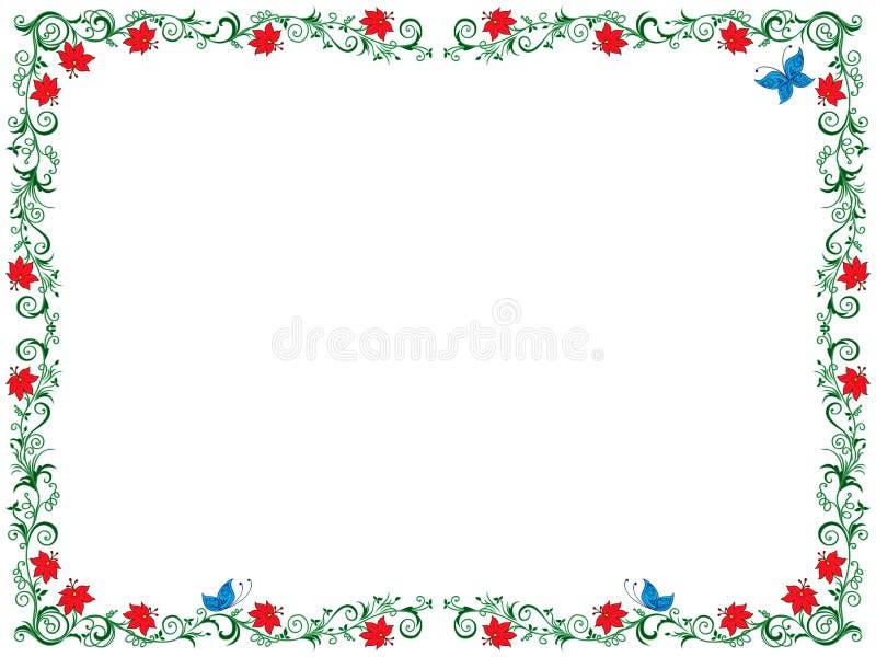Красочная флористическая рамка как поздравительная открытка бесплатная иллюстрация