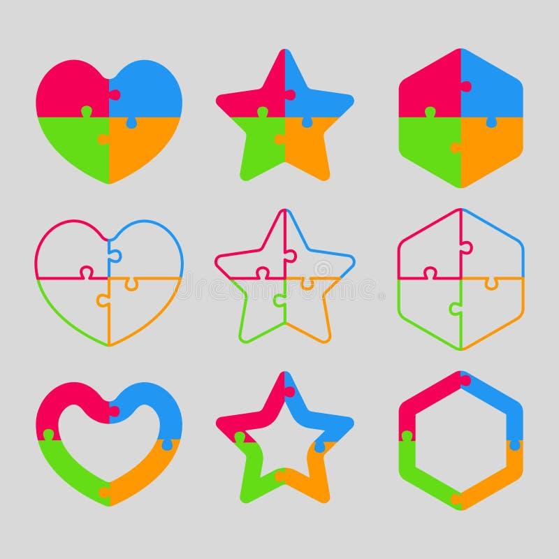Красочная форма головоломки - сердце, звезда, шестиугольник иллюстрация вектора