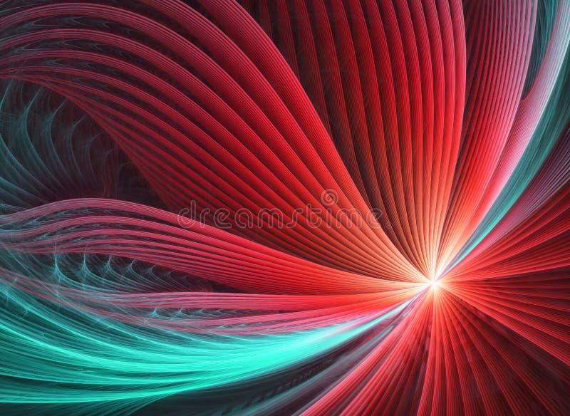 Красочная фракталь с красной картиной свирли иллюстрация штока