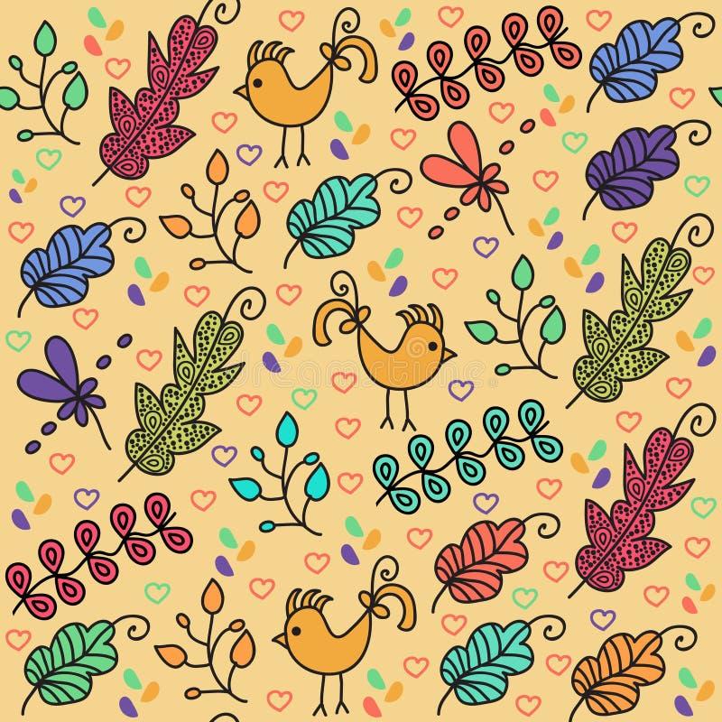 Красочная флористическая безшовная картина с милыми птицами и безшовным PA иллюстрация штока