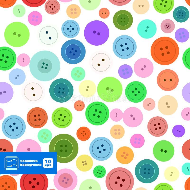 Красочная шить картина кнопок безшовная вектор иллюстрация штока