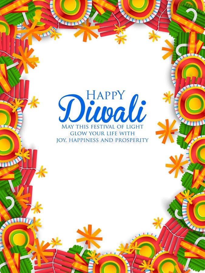 Красочная шутиха огня на счастливой предпосылке Diwali для светлого фестиваля Индии иллюстрация штока