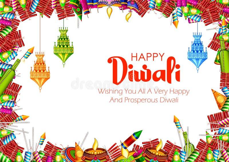 Красочная шутиха огня на счастливой предпосылке Diwali для светлого фестиваля Индии иллюстрация вектора