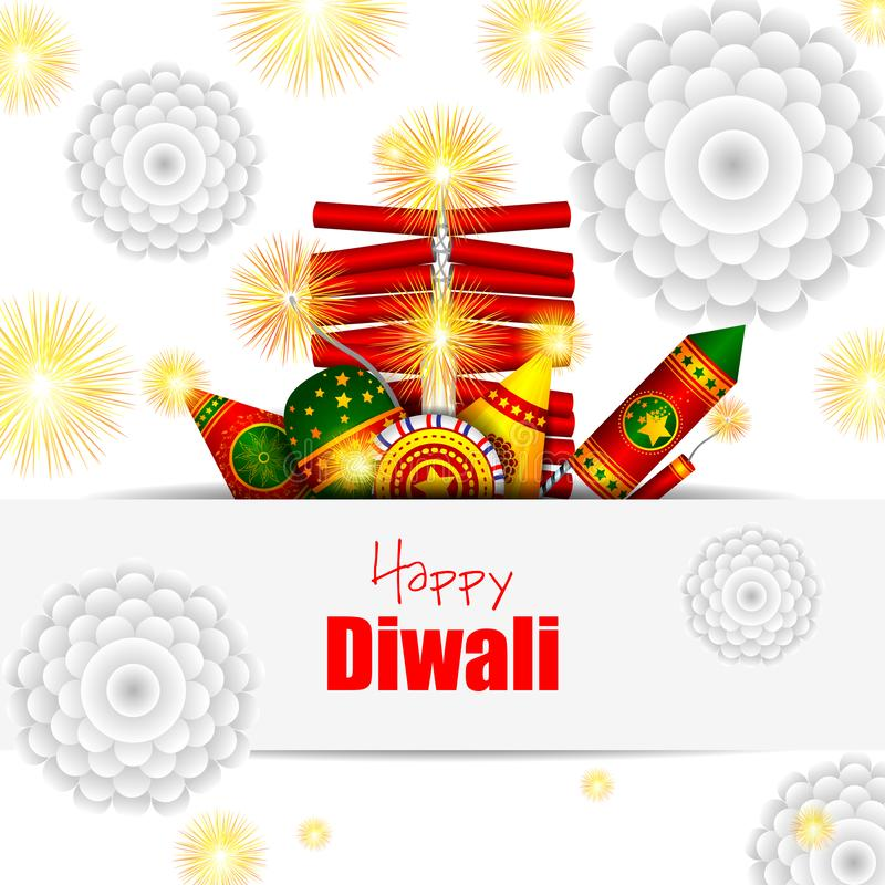 Красочная шутиха огня с украшенным diya для счастливого торжества праздника фестиваля Diwali предпосылки приветствию Индии бесплатная иллюстрация