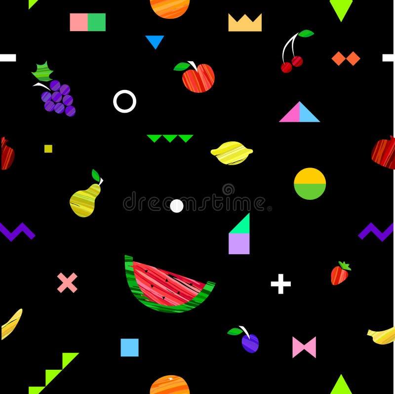 Красочная яркая безшовная картина с различными плодоовощами и геометрическими элементами в племенном стиле Мемфиса иллюстрация вектора